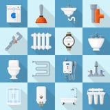 Plumbing cartoon set Stock Image