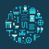 Plumbing circular illustration Stock Photo