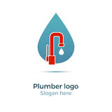 Plumbing company logo. Vector concept. Illustration for plumber`s business. Simple and stylish logotype - water drop with faucet Royalty Free Stock Photos