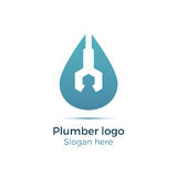 Plumbing company logo. Vector concept. Illustration for plumber`s business. Simple and stylish logotype - water drop with wrench. Negative space design Stock Photos
