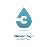 Plumbing company logo. Vector concept. Illustration for plumber`s business. Simple and stylish logotype - water drop with wrench. Negative space design Stock Images