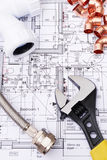 Plumbing Components On House Plans Stock Photos