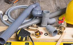 Plumbing do-it-yourself with different tools Stock Image