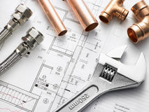 Plumbing Equipment On House Plans. Detail Of Plumbing Equipment On House Plans Royalty Free Stock Photo