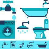 Plumbing equipment icons in flat design style Stock Photo