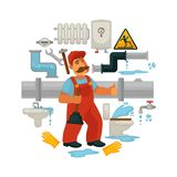 Plumbing service vector flat poster of plumber repair equipment for kitchen or bathroom sewerage leakage. Plumbing equipment and plumber work tools for kitchen Royalty Free Stock Photos