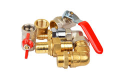 Plumbing fitting and ball valve Royalty Free Stock Photos