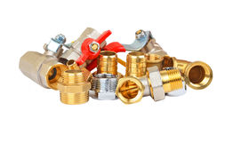 Plumbing fitting and ball valve Royalty Free Stock Images