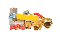 Plumbing fitting and ball valve Stock Photography