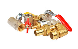 Plumbing fitting and ball valve Royalty Free Stock Photo