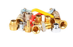 Plumbing fitting and ball valve Stock Photo