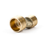 Plumbing fitting and ball valve, isolated on white background. Gold Stock Photography