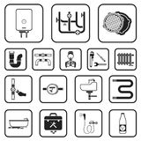 Plumbing, fitting black icons in set collection for design. Equipment and tools vector symbol stock web illustration. Plumbing, fitting black icons in set Royalty Free Stock Photography
