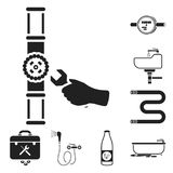 Plumbing, fitting black icons in set collection for design. Equipment and tools vector symbol stock web illustration. Plumbing, fitting black icons in set Royalty Free Stock Image
