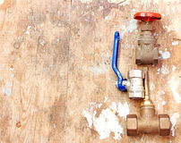 Plumbing water valves fitting and connection Royalty Free Stock Photos