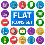 Plumbing, fitting flat icons in set collection for design. Equipment and tools vector symbol stock web illustration. Plumbing, fitting flat icons in set vector illustration