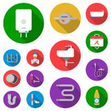 Plumbing, fitting flat icons in set collection for design. Equipment and tools vector symbol stock web illustration. Plumbing, fitting flat icons in set Royalty Free Stock Images
