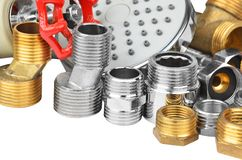Plumbing fitting, hosepipe and showerhead Stock Photo
