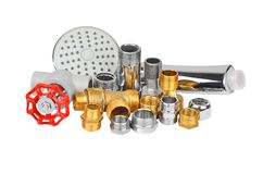 Plumbing fitting, hosepipe and showerhead Stock Photography