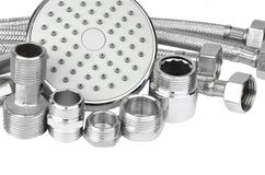 Plumbing fitting, hosepipe and showerhead Stock Images