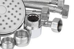 Plumbing fitting, hosepipe and showerhead Royalty Free Stock Photos