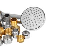 Plumbing fitting, hosepipe and showerhead Royalty Free Stock Photo