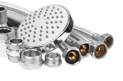 Plumbing fitting, hosepipe and showerhead Stock Photos
