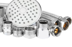 Plumbing fitting, hosepipe and showerhead Royalty Free Stock Photography