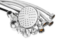 Plumbing fitting, hosepipe and showerhead Royalty Free Stock Image