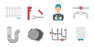 Plumbing, fitting icons in set collection for design. Equipment and tools vector symbol stock web illustration. Royalty Free Stock Photos