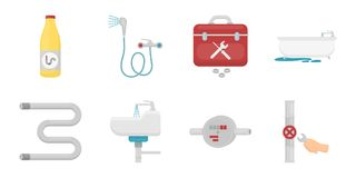 Plumbing, fitting icons in set collection for design.   Stock Image