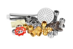 Plumbing fitting, showerhead and wrench Royalty Free Stock Photos