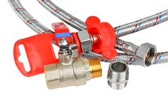 Plumbing fitting, tap and hosepipe Stock Photos