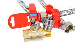 Plumbing fitting, tap and hosepipe Royalty Free Stock Photography