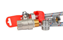Plumbing fitting, tap and hosepipe Royalty Free Stock Images