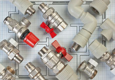 Plumbing fittings on the drawing Royalty Free Stock Images