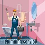 Plumbing fix bath washbasin concept, cartoon style. Plumbing fix bath washbasin service concept. Cartoon illustration of plumbing fix bath washbasin service Stock Photos