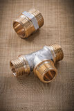 Plumbing fixtures connector fittings on water mesh filter Stock Photography