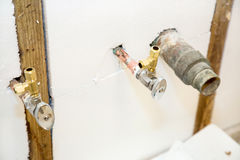 Plumbing Fixtures in Insulated Wall Stock Photo
