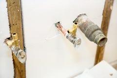 Plumbing Fixtures in Insulated Wall Stock Photo