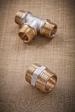 Plumbing fixtures pipe fittings on water mesh filter Stock Photo