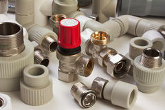 Plumbing fixtures. And piping parts Stock Image