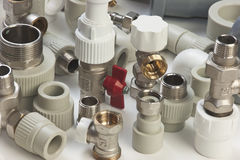 Plumbing fixtures. And piping parts Stock Photography