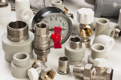 Plumbing fixtures. And piping parts Royalty Free Stock Image
