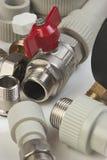Plumbing fixtures. And piping parts Stock Photos