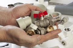Plumbing fixtures. And piping parts Stock Photo