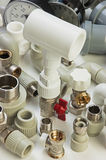 Plumbing fixtures. And piping parts Royalty Free Stock Photography