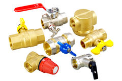 Plumbing fixtures, valves, fittings. Composition plumbing fixtures, valves, fittings Stock Photo