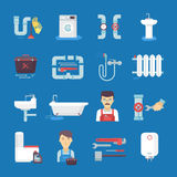 Plumbing Flat Icons Collection Blue Background Stock Photo