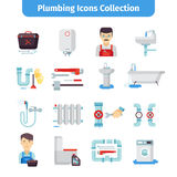 Plumbing Flat Icons Collection Royalty Free Stock Images